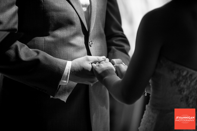 bride and groom's hands during exchange of vows